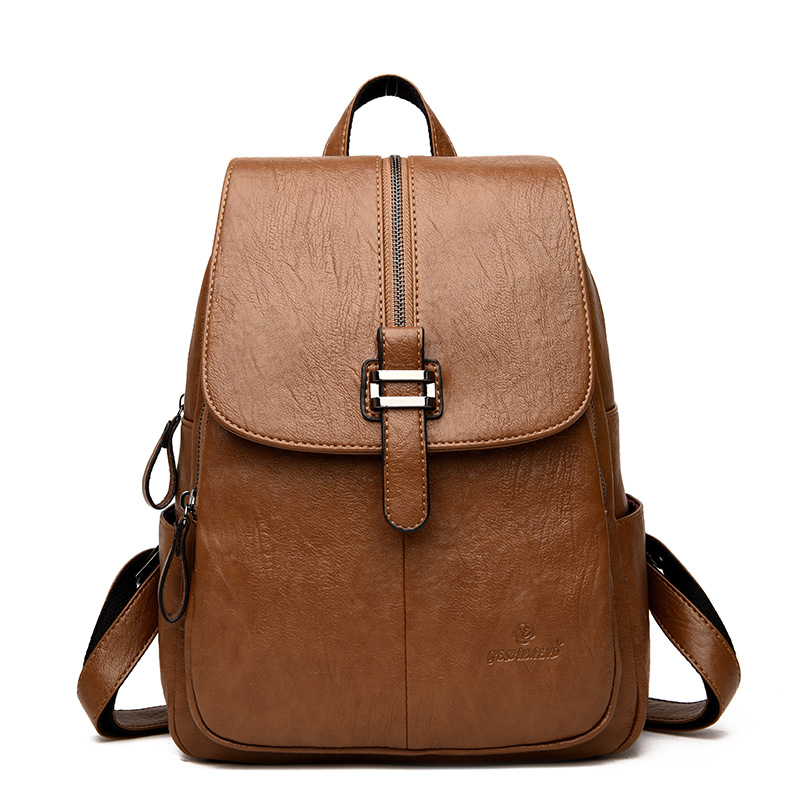 Women Vintage Backpack Large Capacity Travel Female Shoulder Bag Casual Multi-purpose Daypack Girls Daily PU Leather School Bag annmouler women fashion backpack pu leather shoulder bag 7 colors casual daypack high quality solid color school bag for girls