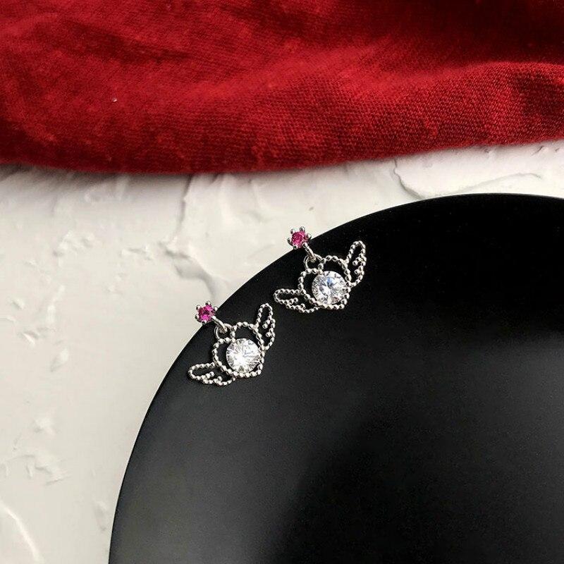 Silver Hollow Heart Wing Stud Earrings 925 White pink zircon Earrings For Women Girls Kids Mini Minimalist Jewelry Love Gifts in Stud Earrings from Jewelry Accessories