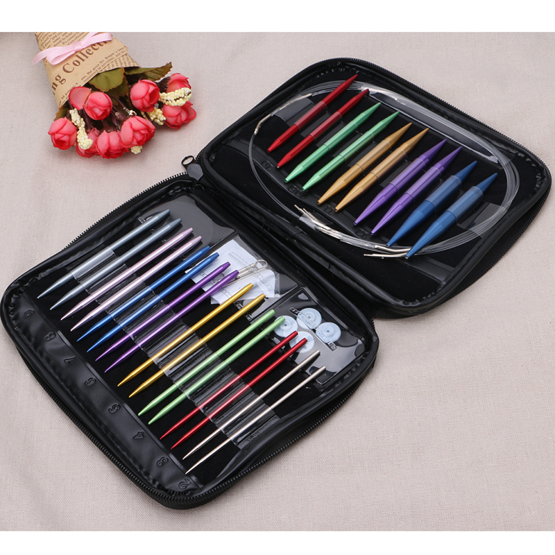 13Pcs Set Aluminum Interchangeable Circular Knitting Needle Ring Set Kit Woven Tools Sewing Tools Pins Sets in Sewing Tools Accessory from Home Garden