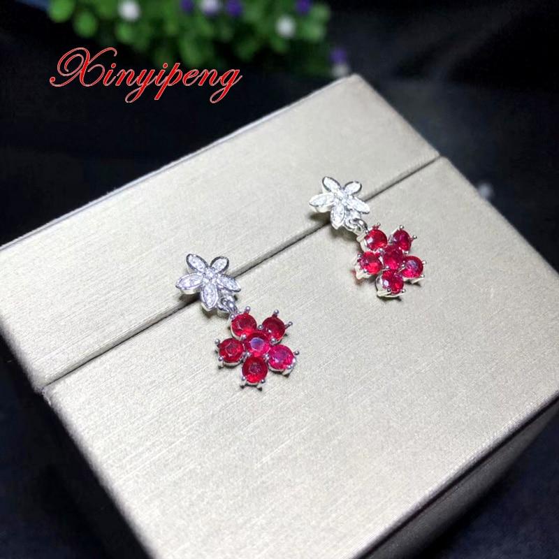 Xin yi peng 925 argent incrusté naturel rubis eardrop, femme eardrop, anniversaire cadeau d'anniversaire