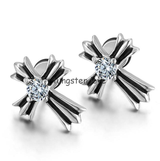 New Stainless Steel Crystal Cross Stud Earring For Men Women Fake Ear Plugs Faux