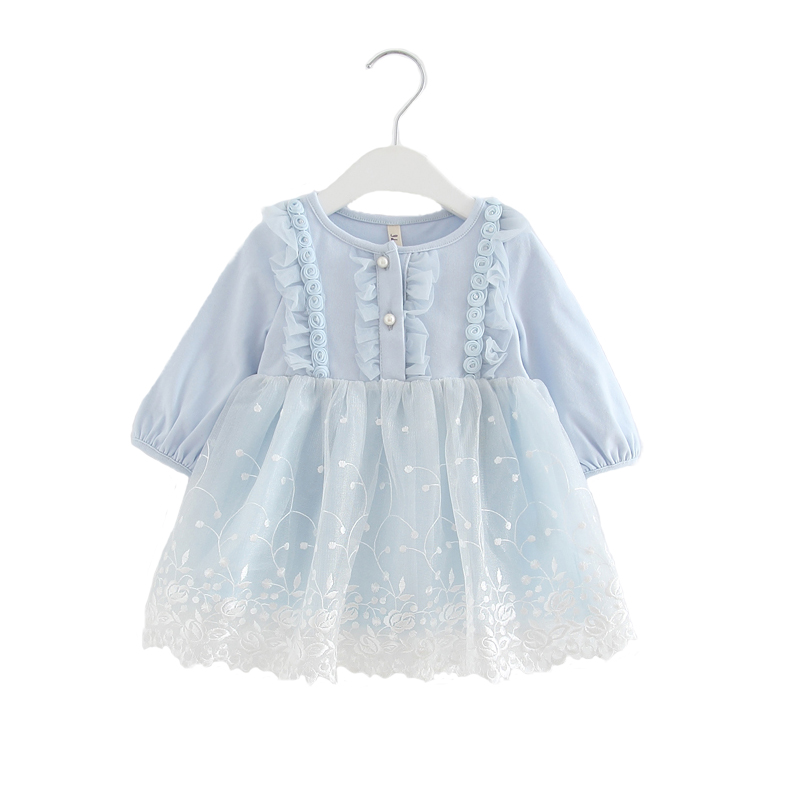 Autumn Fashion Baby Girl Dress Lace Flower Embroidery Long Sleeve Children Clothes kids dress girls dresses 0-2T 3 color girl dress princess autumn 2018 fashion flowers embroidery denim dress girls long sleeve turn down collar kids clothes b0659