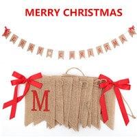 14 шт. флаги/набор с Рождеством льняной флаг баннер с бантами льняной Рождественский праздничный баннер для украшение для рождественской ве...