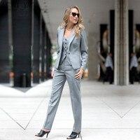 Модная элегантная Деловая одежда брючные костюмы Тонкий комплект из 2 предметов женский деловой костюм Блейзер женские брюки костюм офисна