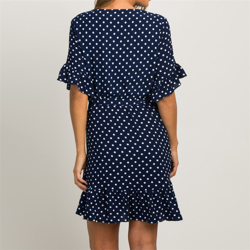 Summer Dress 19 Boho Style Beach Dress Fashion Short Sleeve V-neck Polka Dot A-line Party Dress Sundress Vestidos 14