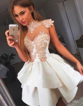 696110744 Ver a través de 2019 vestidos de cuello alto de manga corta Mini de encaje  elegante vestidos de cóctel