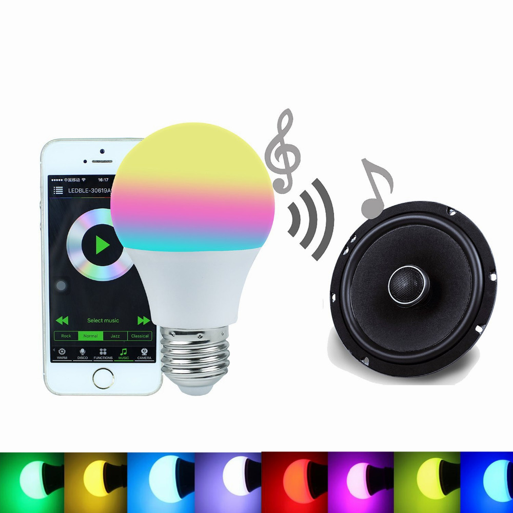 Bluetooth Smart LED Light Bulb 4.5W RGBW 4.0 Smartphone Controlled E27 Dimmable Led Lamp Sleeping Mode Smart Home Illumination