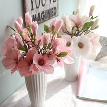 2018 sztuczne sztuczne kwiaty liść wiśniowe kwiaty kwiaty na ślub bukiet Party Decor2o0327 tanie tanio Kwiat Oddział magnolia Z tworzywa sztucznego Ślub Artificial Rose Flower Rattan Green Leaf Size 37cm Material plastic