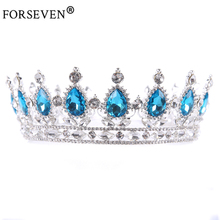 Blue Crystal Wedding Bride Hair Accessories Crown Silver Color Chic Royal Regal Sparkly Rhinestones Tiaras Crown Pageant Jewelry