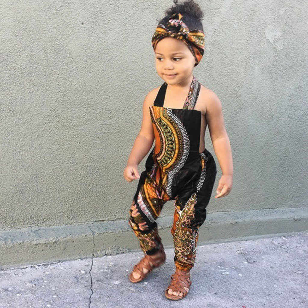 Toddler Kids Girl Outfits Clothes African Print Sleeveless Romper Jumpsuit Set