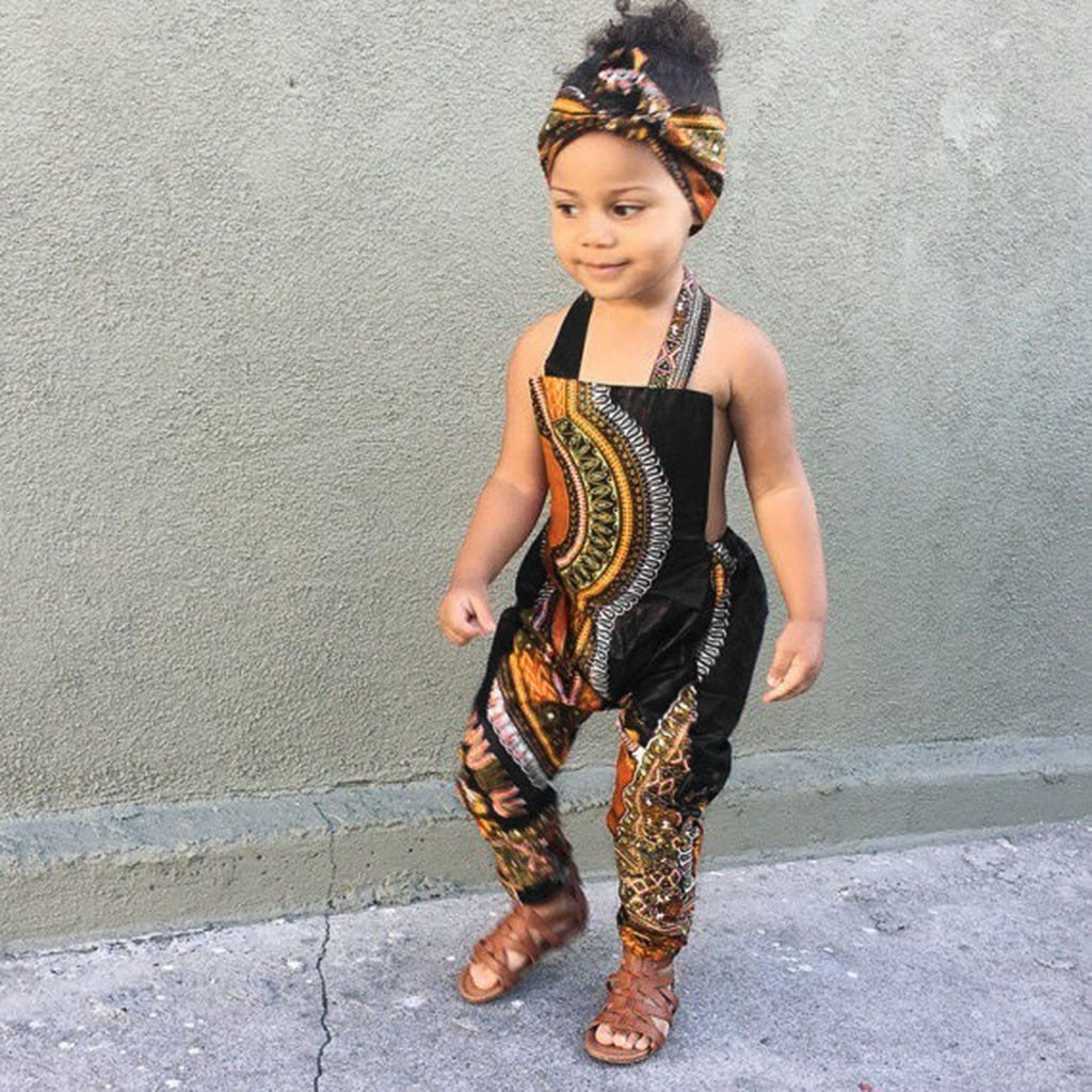 Toddler Kid Baby Girl Outfits Clothes African Print Sleeveless Romper Hair Band Jumpsuit Girl Clothes Set meisjes kleding 2019 kayak suit