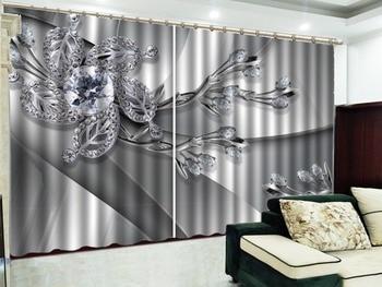 Custom Curtain Jewelry Diamond Leaf Mosaic Flower 3D Flower Curtains  Living Room Bedroom Beautiful Practical Shade Curtains