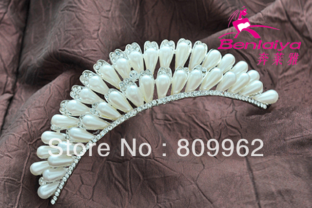 newFree Shipping Fashion Pearl Wedding Tiara Bridal Hairwear Princess Crown Rhinestone Jewelry Wedding Accessories Silver Plated