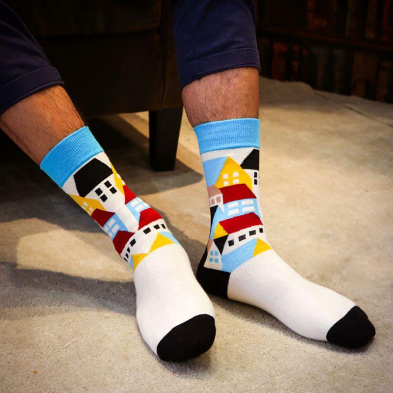 Men Colorful Cotton Socks Striped Jacquard Art Socks Summer Fashion Hit Color Dot Long Happy Socks Mens Dress Sock