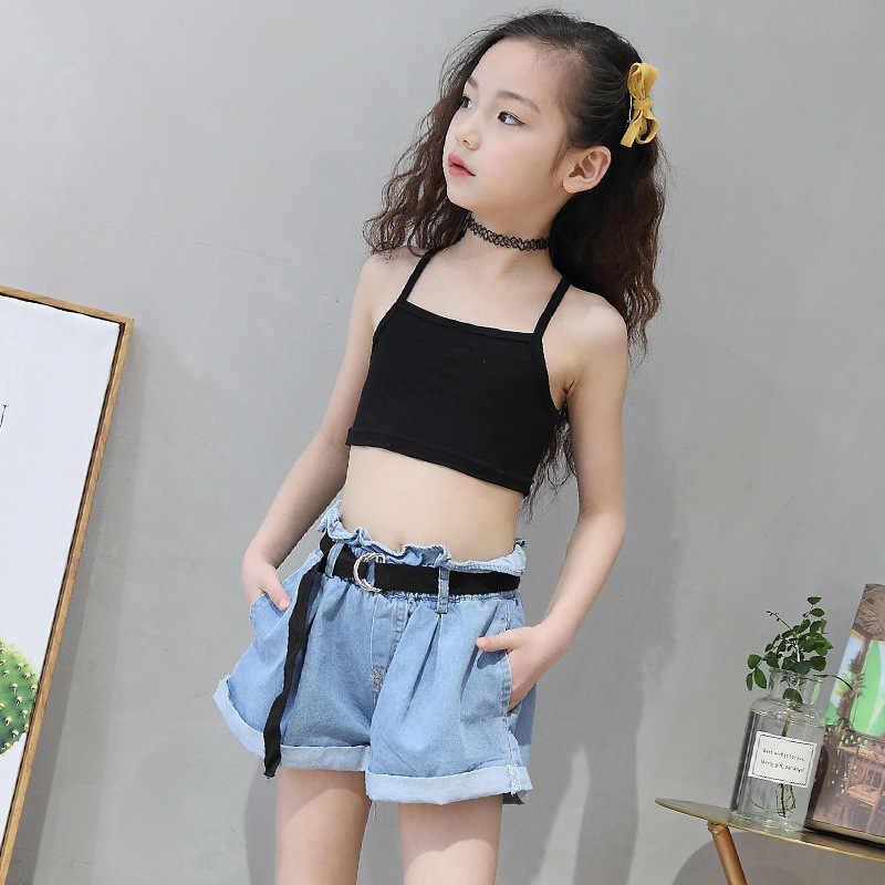 Noir gris hauts pour filles 11 12 14 6 8 10 4 ans vêtements de sport été printemps 2018 petites filles débardeur adolescent enfants gilet