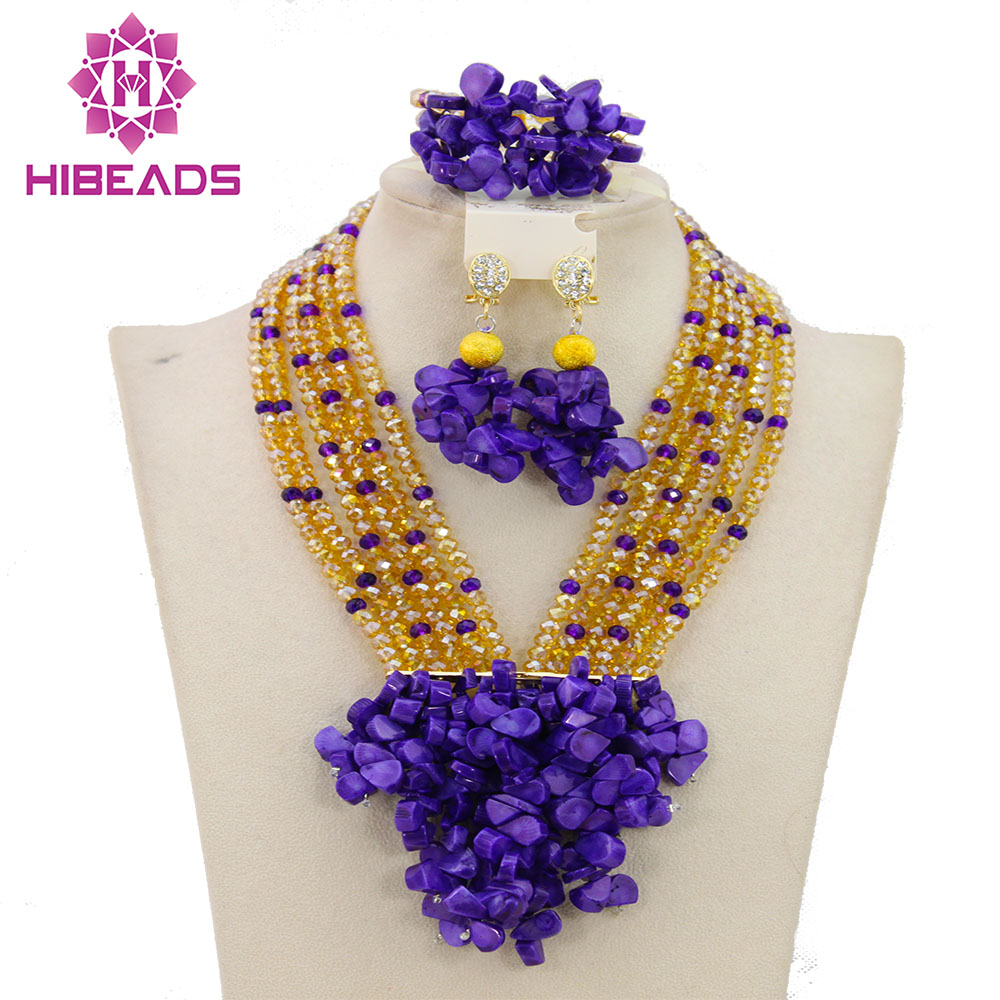 Latest Nigerian Wedding African Beads Jewelry Set Gold Crystal ...