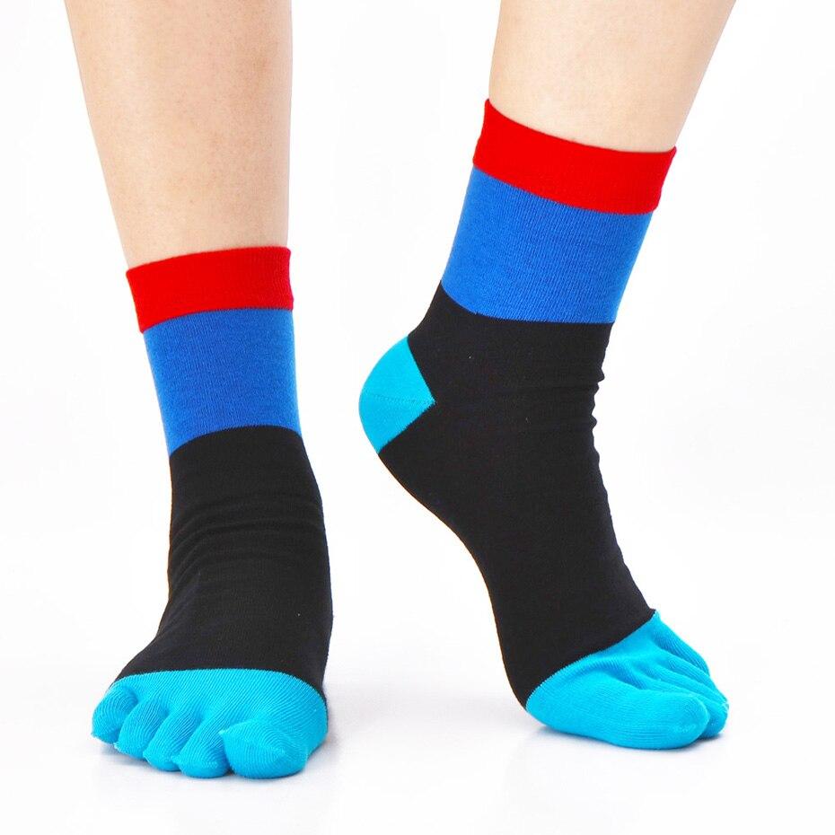 New Designer Crew Cotton Men Toe Socks Male Fashion Casual Five Finger Socks Men Colorful Business Dress Socks (6Pairs/lot)