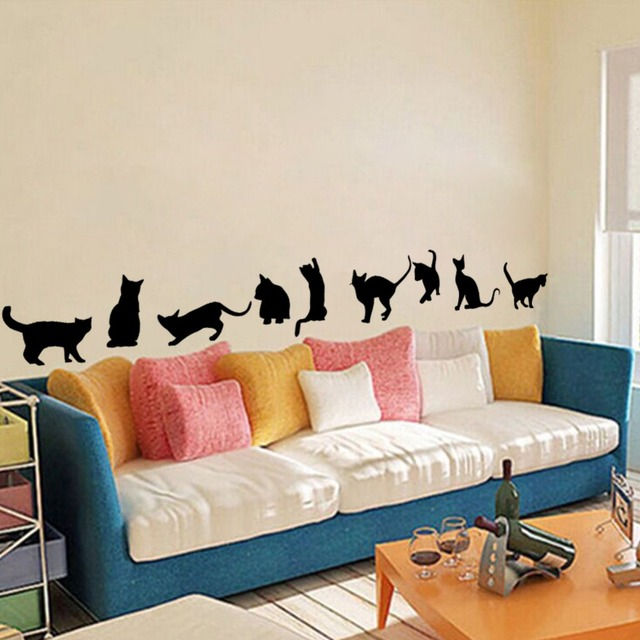 Cute Black Cats Removable Self Adhesive Vinyl Wall Stickers Wall - Vinyl wall decal adhesive