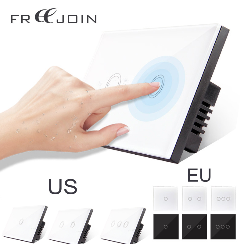FREEJOIN wall wireless switch Luxury Crystal RF Glass Touch Switch 1 Gang 1 Way smart remote control for light 220V EU Panel