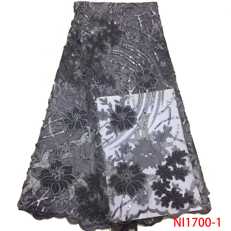 2019 High Quality African Lace With Sequence French Nigerian Lace Fabric Embroidery Velvet With Sequins For Women KSNI1700-1