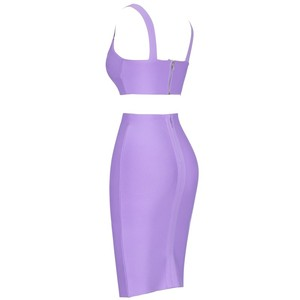 Image 5 - Deer Lady Bandage Party Dresses 2019 Crop Top And Purple 2 Piece Bandage Set Bodycon Sexy Celebrity Bandage Dress Mini Club