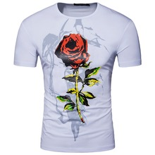 Men Short Sleeve V Neck Print Flower Rose Designer CottonT Shirt Summer Fashion Grey Black Slim Cotton T Shirt S-XXL D057