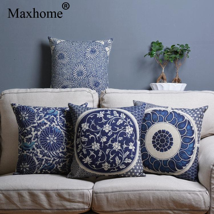 Retro Chinese Cotton Linen Pillowcase Blue And White Cushions Decorative Pillow Home Decor Throw Pillows For Sofa Luxury 45*45