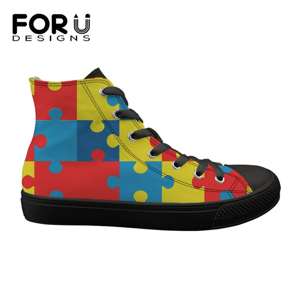 Women's Vulcanize Shoes Shoes Forudesigns Vintage Womens Canvas Vulcanize Shoes Autism Awareness Brand Designer High Top Flats Shoes For Ladies Sneakers 2019