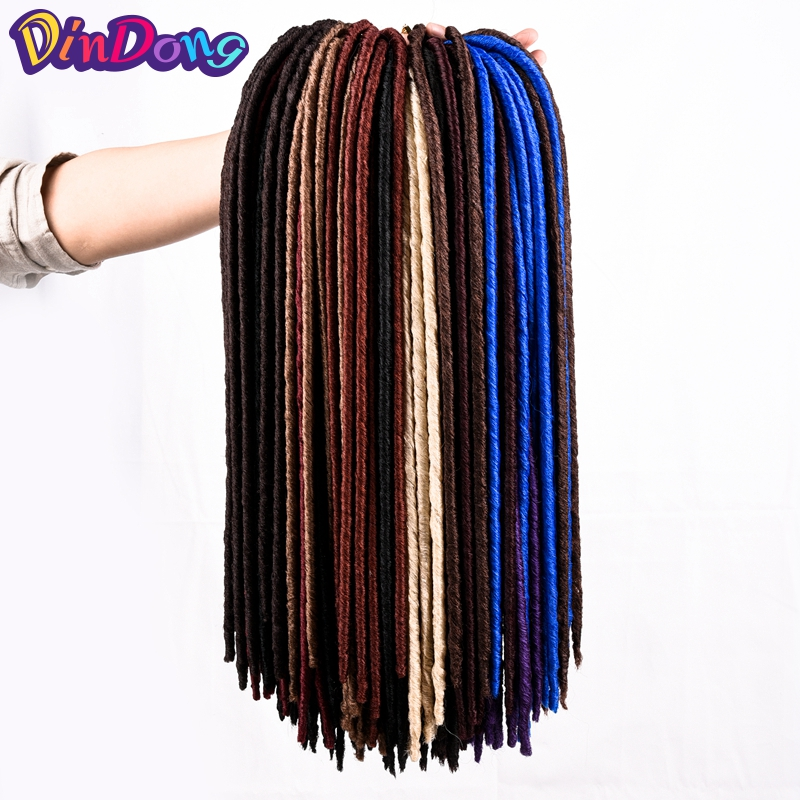 "DinDong 18"" Crochet Braids Faux Locks Synthetic Crochet Hair Extensions 24roots Kanekalon High Fiber Crochet Braid For Women"