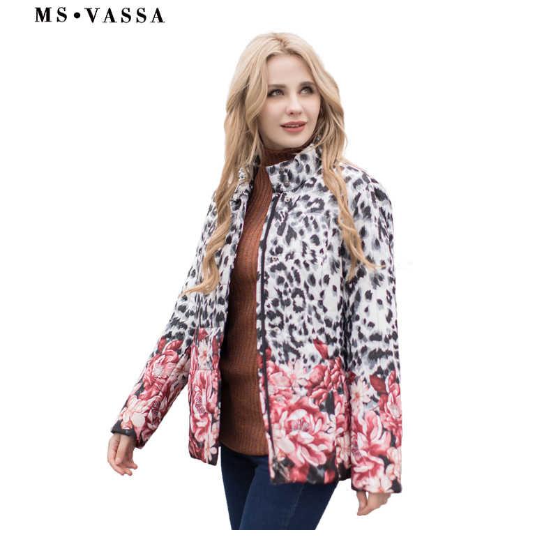 MS VASSA Dames Jas Herfst Winter Vrouwen Parka plaatsing print Padding jassen plus size 4XL 6XL opstaande kraag bovenkleding