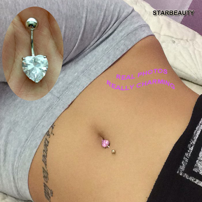1pc Pink Heart Navel Piercing Nombril Sexy Women Belly Button Rings