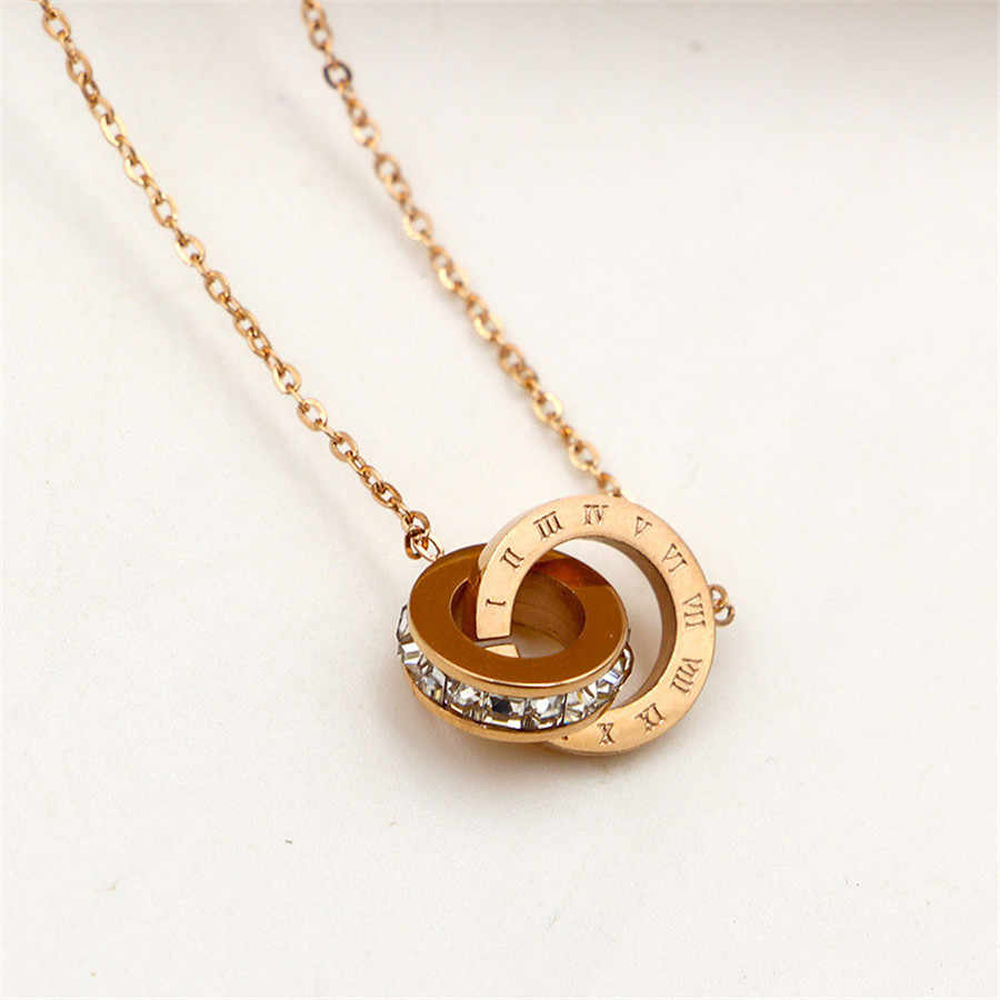 Martick New Arrival 316L Stainless Steel Brand Pendant Necklace Double Loop AAA CZ Roman Numerals Necklace For Young Girl M3