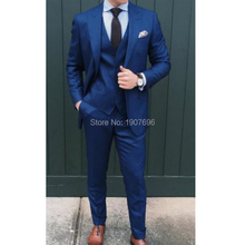 3 Piece Wedding Men Suits Navy Groom Tuxedos Peaked Lapel Formal Jacket Pants Vest Man Waistcoat