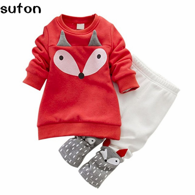 2017 Autumn Winter Red Baby Girls Clothing Set Lovely Cartoon Cotoon Children's Clothing Thick Long-Sleeved Fox Tops+Pant Set