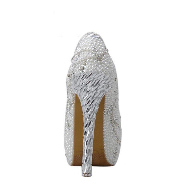 2018 kristall Handgemachte Weiß Ferse Perle Braut Schuh Luxuriöse Strass Hochzeit Schuhe Frauen High Heels Plattform Pumpen Plus Größe - 4