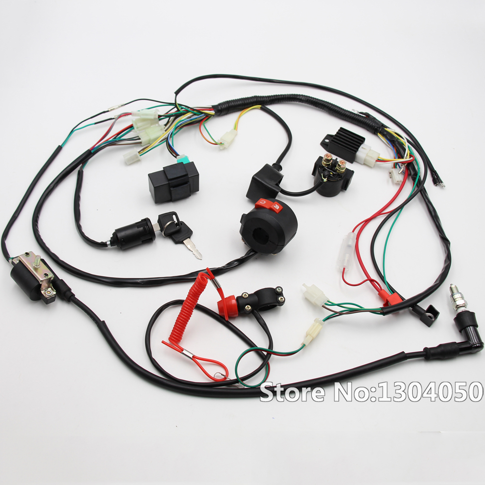 Full Engine Wiring Harness Loom Solenoid Coil Rectifier CDI 50cc 70cc 90cc 110cc 125cc ATV Quad Dirt Bike Go Kart Buggy new