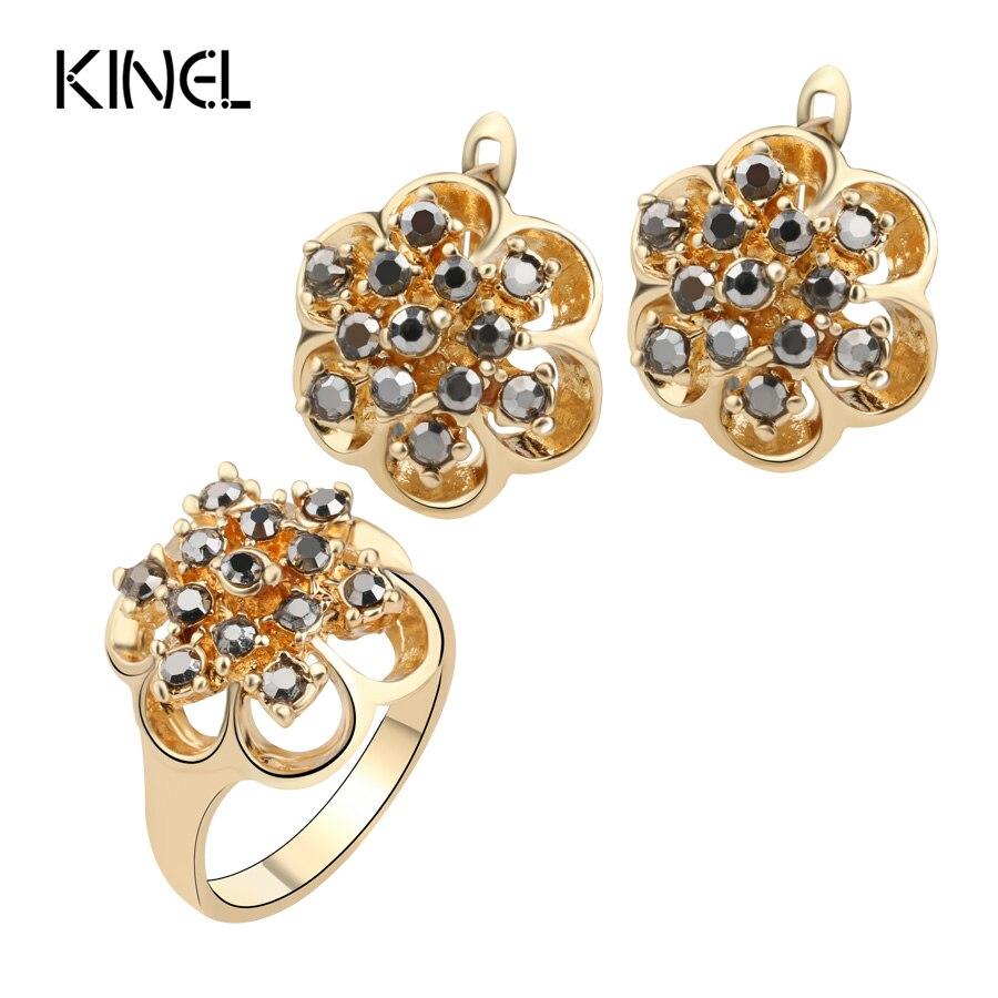 Kinel gray crystal joyería de la boda establece color oro anillos y pendientes p