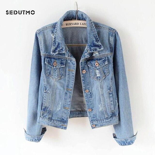 SEDUTMO 2018 בתוספת גודל 5XL נשים מעיל ג 'ינס החבר ז' אן מעיל Streetwear הלבשה עליונה בסיסי סתיו בציר Harajuku ED198