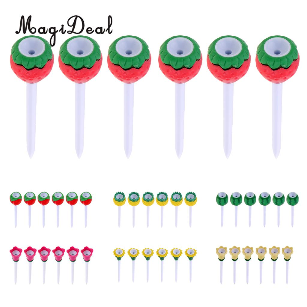 MagiDeal 6Pcs Durable Plastic Golf Tees with Rubber Top 80mm/3.1 Cute Fruit Tees - Golf Training Tool