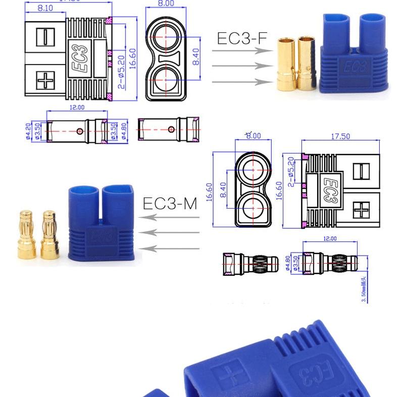 "10 шт. Amass EC2 EC3 EC5 разъем 3,5 мм 5,0 мм 2,0 мм Мужской Женский штекер типа ""банан"" с корпусом оболочка пуля RC части для Lipo батареи"