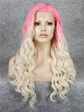 Long Finger Wave Baby Pink and Blonde Omber Synthetic Lace Front Wig For man and Woman