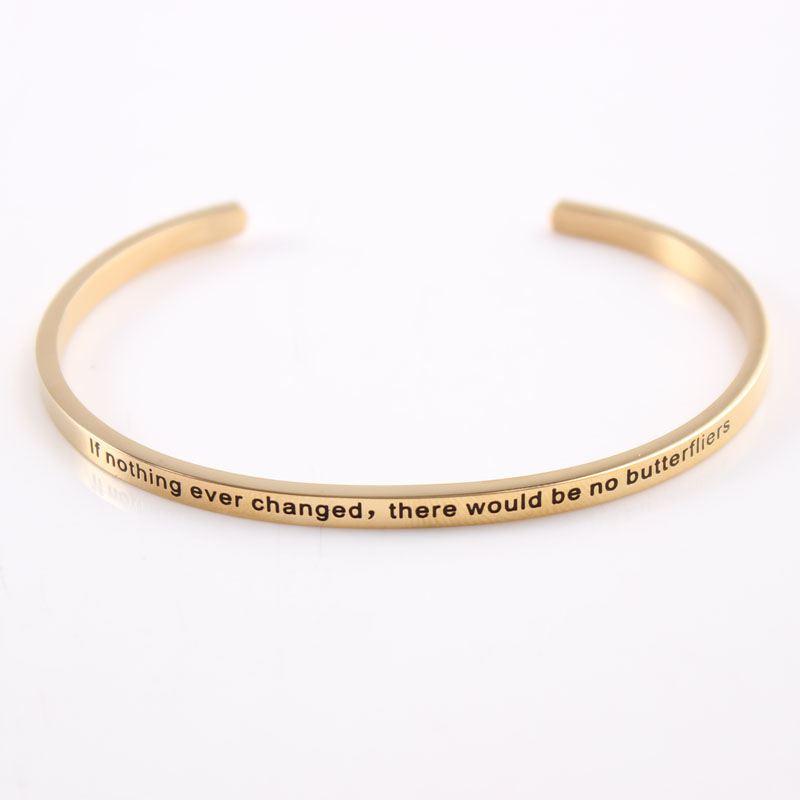 Gold quot Free your mind quot Stainless Steel Inspirational Bracelet Quote Cuff Bracelets Mantra Bangle for Women Dropshipping in Bangles from Jewelry amp Accessories