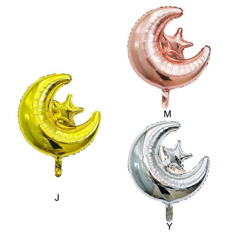 18 polegada Eid Mubarak Lua Estrela balão de Hélio Foil Balloons Decorações de Mubarak Hajj Eid Ramadan Kareem Al-Fitr Casa decoração