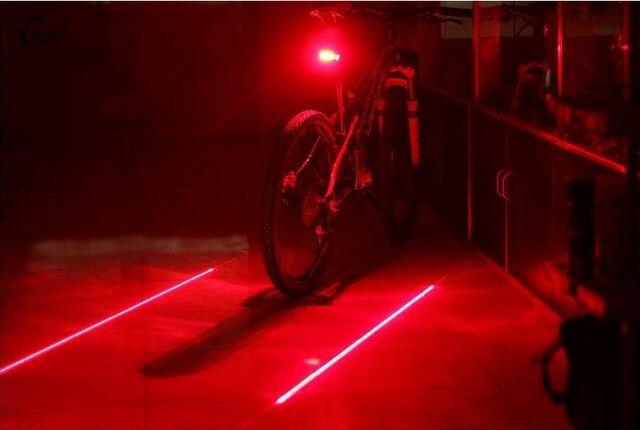 Велосипедный Спорт LED Фонарь Детская безопасность Предупреждение 5 LED + 2 лазер ночного горный велосипед задний свет лампы велик свет