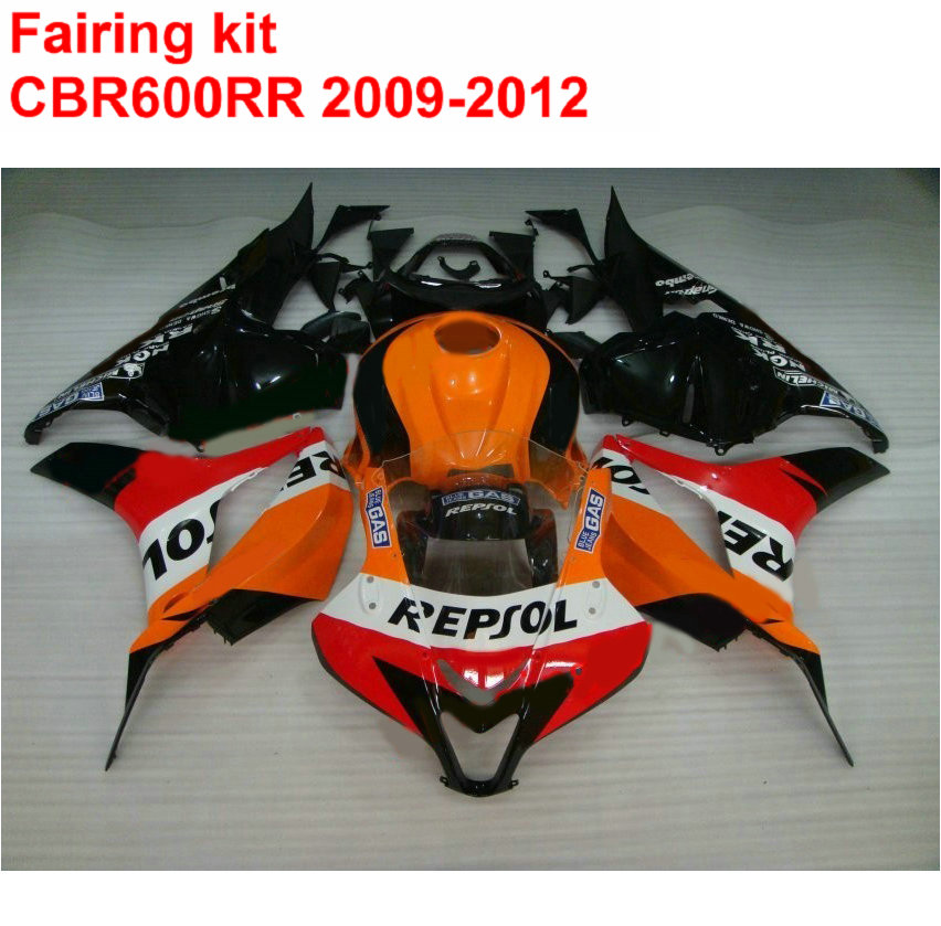 Injection molding Fairing kit for HONDA cbr600rr 2009 2010 2011 2012 CBR 600 RR black orange REPSOL fairings 09 10 11 12 LK10 injection molding fairing kit for kawasaki zx14r 06 07 08 09 2006 2009 wine red black 100% abs zx14r fairings op01