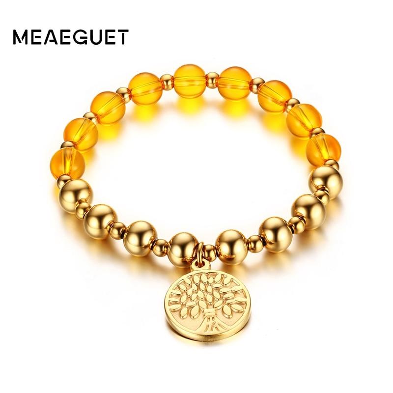 Prix pour Meaeguet Classique Vie Arbre de Perles Bracelets Pour Les Femmes En Acier Inoxydable Arbre de Vie Charm Bracelets Main Perle Chaîne Bijoux