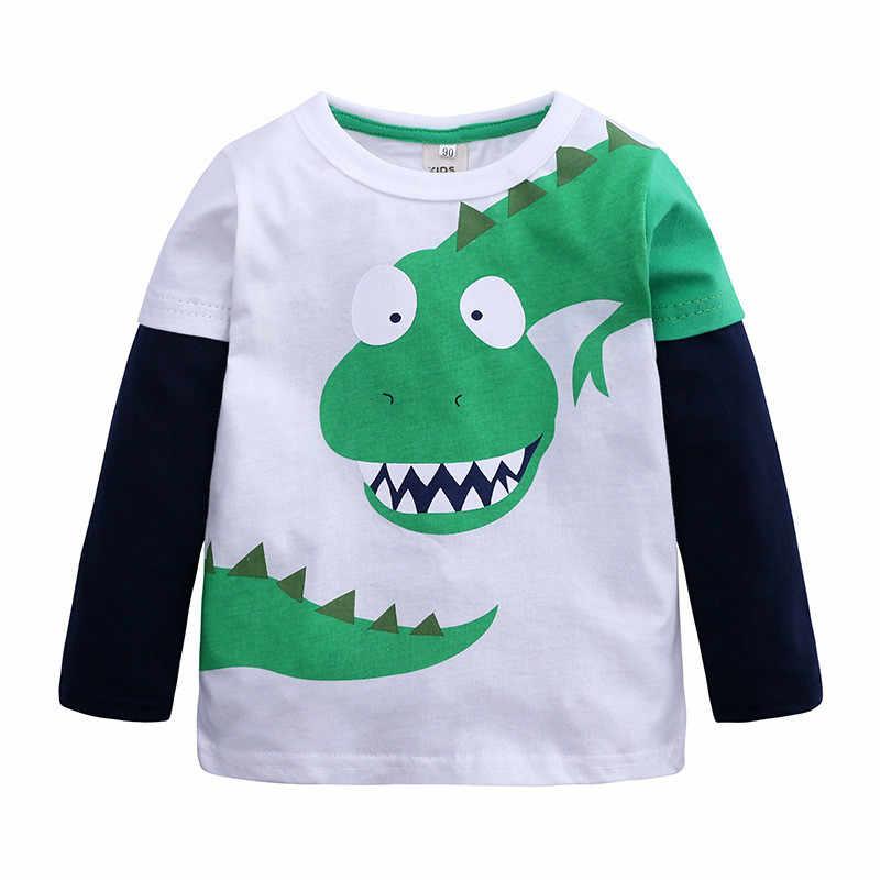 Camisetas de bebé niño niña ropa de dibujos animados niños camisa de retales de dinosaurio trajes de ropa nuevas Tops casuales conjunto de ropa