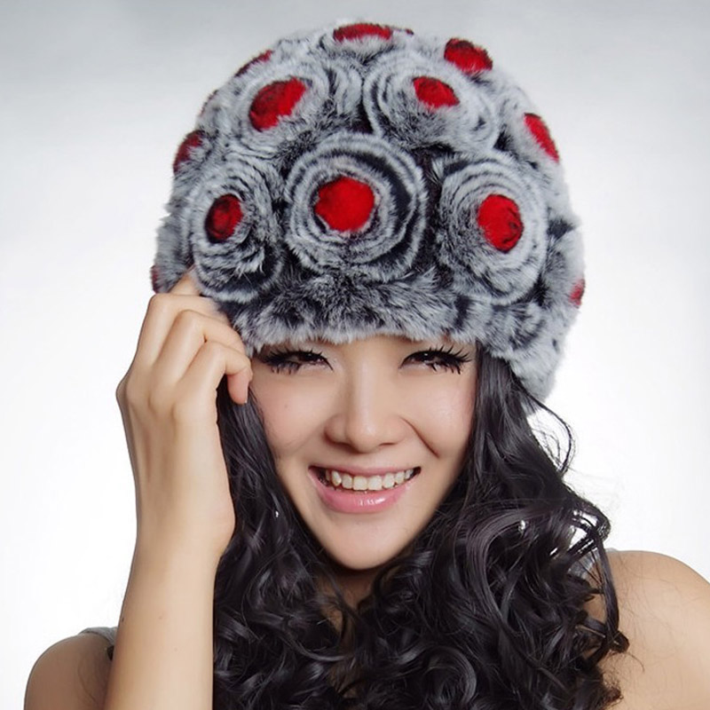 Real Rex Rabbit Fur Hat Knit Lining Cap Nature Flower Skullies Beanie Headgear Winter Women's Multi-Color