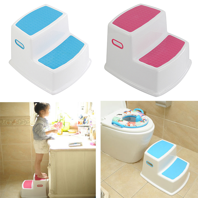 2 Step Stool For Kids Toddler Stool For Toilet Potty Training Slip Bathroom Kitchen HG99