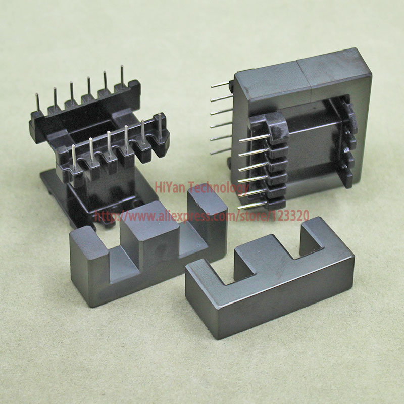 цена на 2sets/lot EE40 EI40 Ferrite Magnetic Core and 6 Pins + 6 Pins Plastic Bobbin Customize High Frequency Voltage Transformer